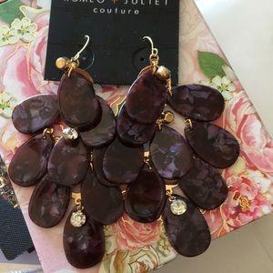 Romeo & Juliet Eggplant Purple Resin & Crystal Ear